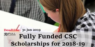 Fully Funded Scholarships CSC Scholarships for 2018-19