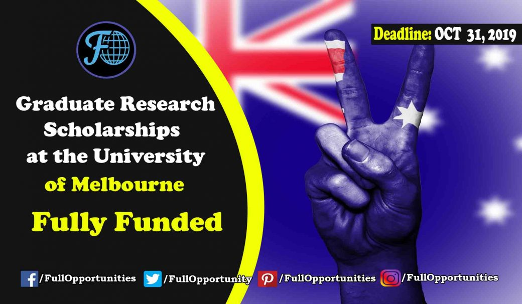 Fully Funded Graduate Research Scholarships at the University of Melbourne