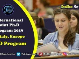 International Joint Ph.D Program 2019 in Italy, Europe