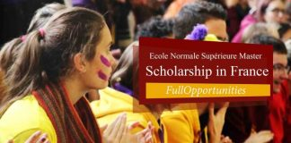 Ecole Normale Supérieure Master Scholarship in France 2020