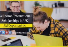 Wellcome International master's Scholarships