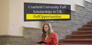 Cranfield University Full Tuition Fee Scholarship in UK 2020