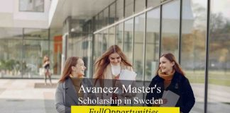 Avancez Master's Scholarship in Sweden